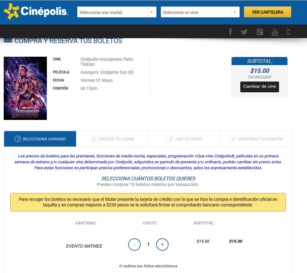 Cinepolis Web :  boletos para Avengers a 15 pesos
