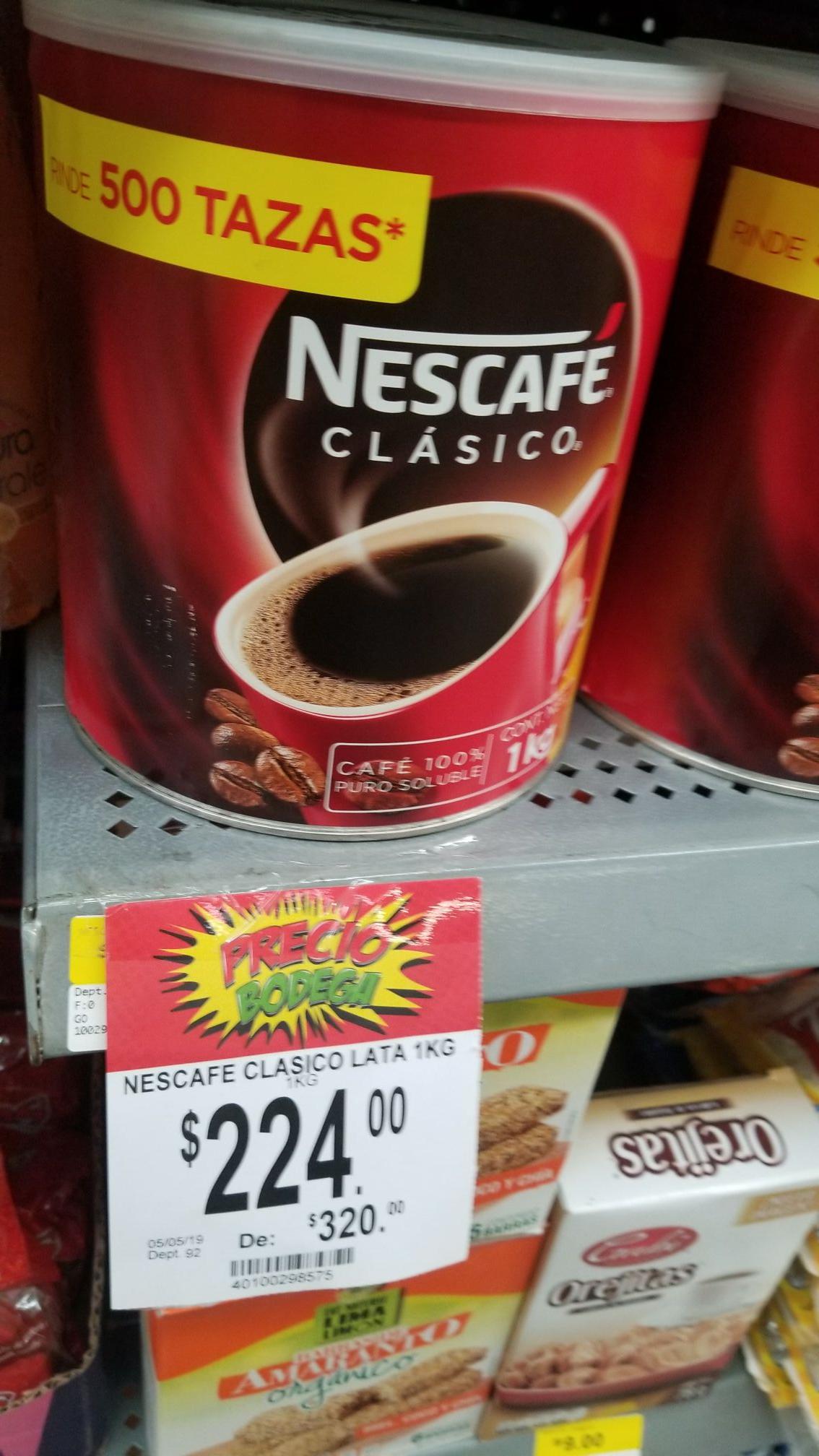 Bodega Aurrera: Nescafe de 1kg a $224