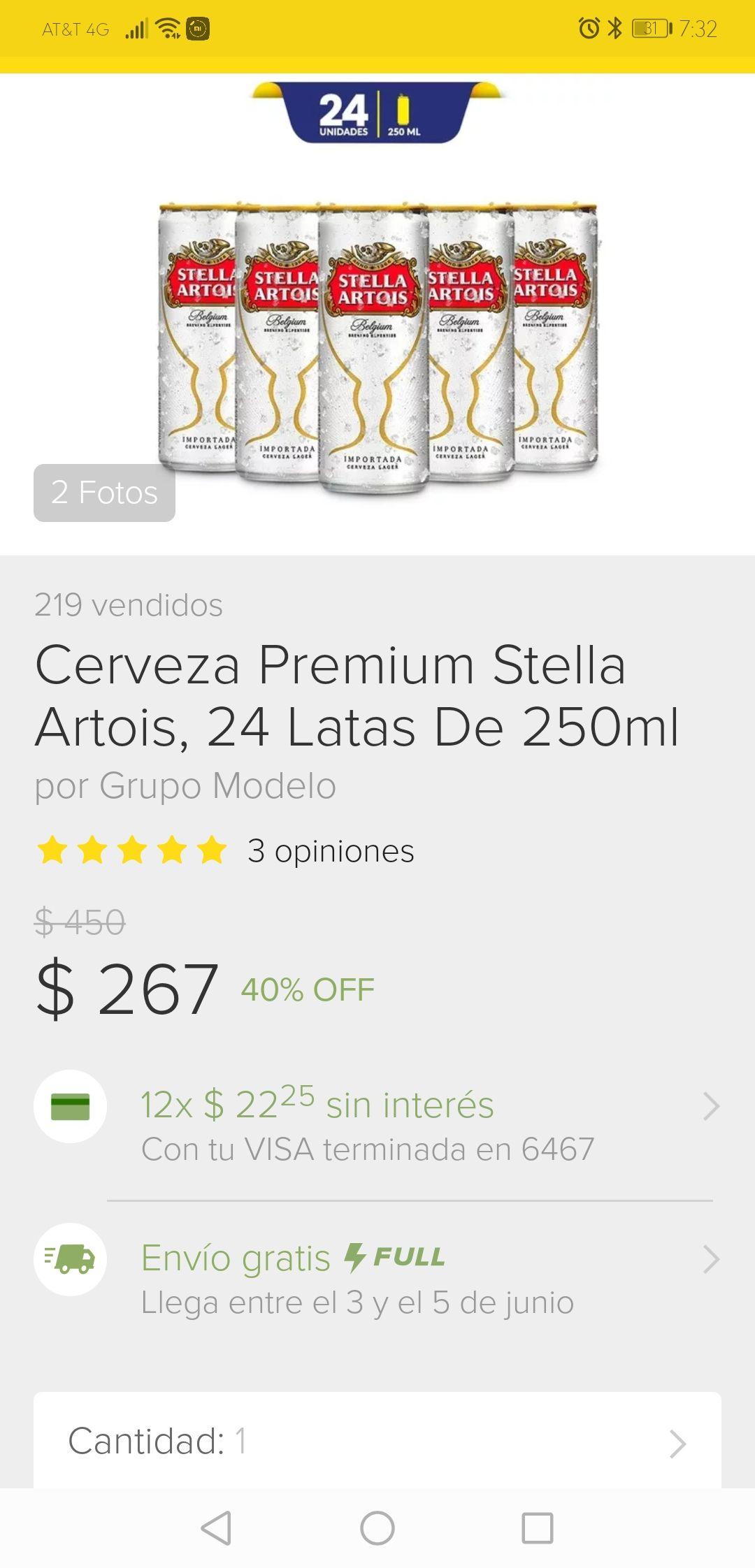 Grupo Modelo en Mercado Libre: 24 Cervezas premium Stella Artois