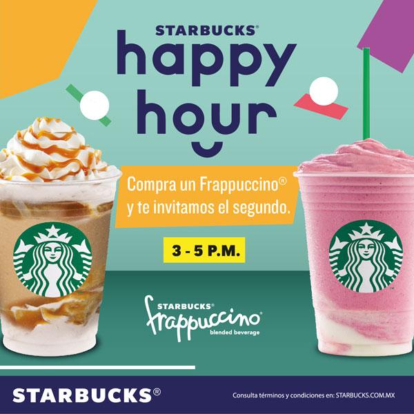 Starbucks: Vuelve el Happy Hour 2x1 FRAPPUCCINOS Del 3 al 14 de JUNIO.