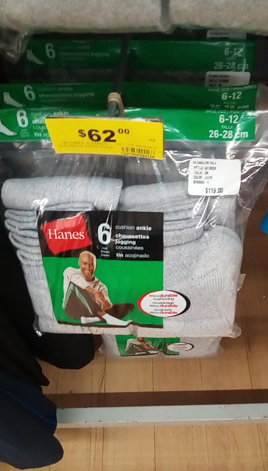 Soriana: 6 pares de calcetines Hanes  por $62
