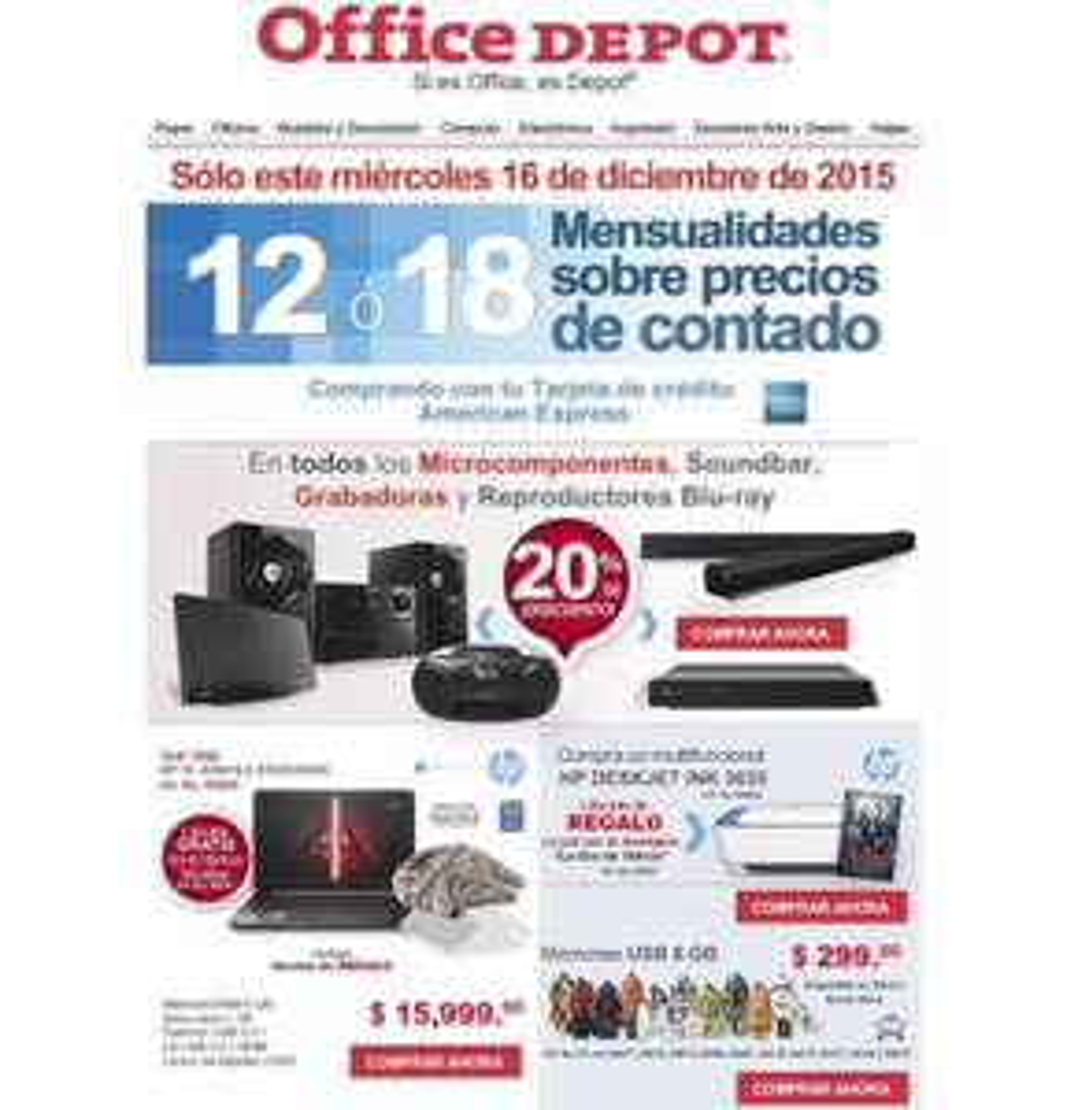 Office Depot: 12 ó 18 MSI con AMEX