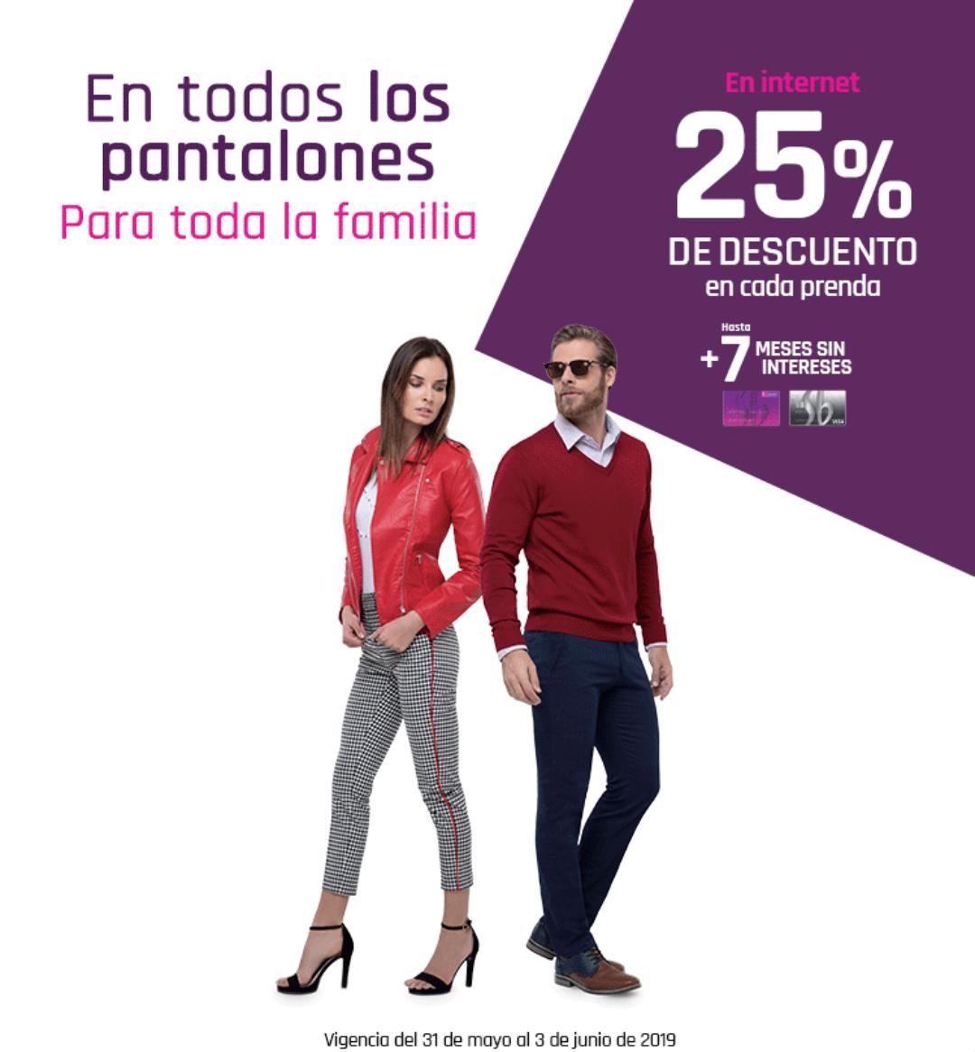 Suburbia: 50% de descuento en la segunda pieza (ó 25% en cada pieza en Internet) en todos los pantalones para toda la familia