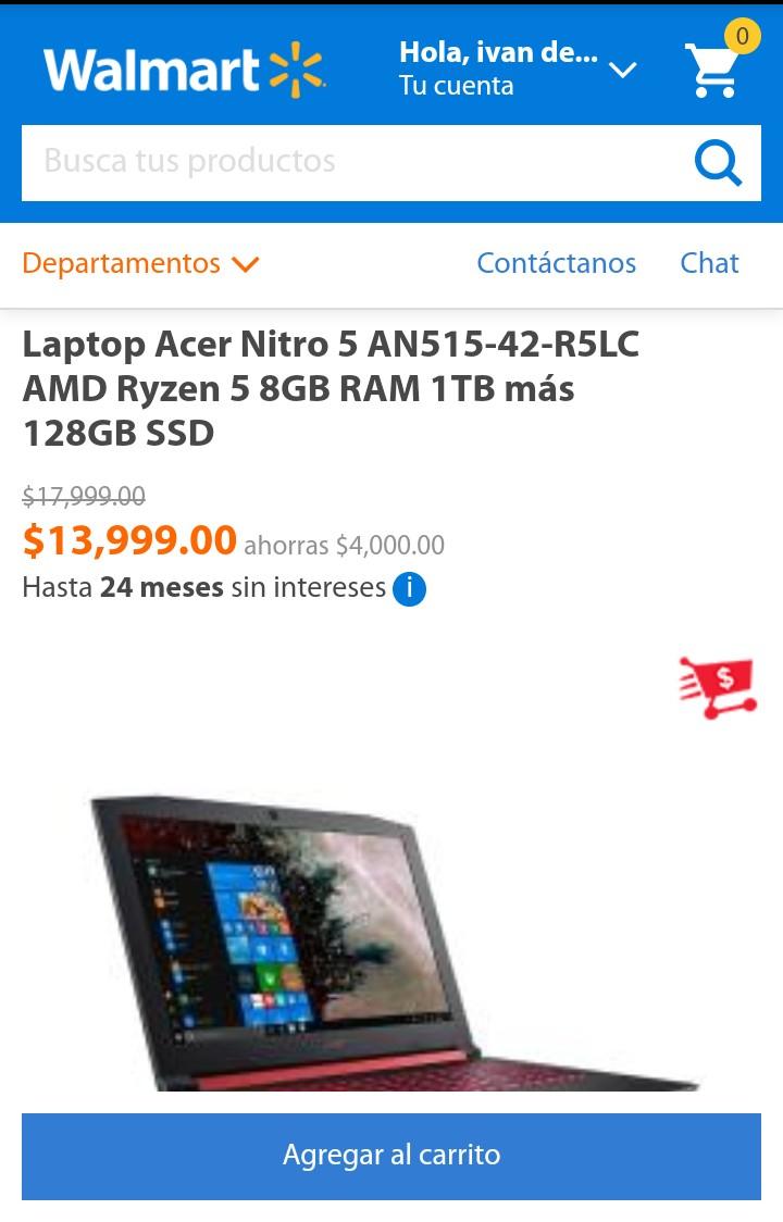 Walmart: Lap Acer Nitro 5 AN515-42-R5LC AMD Ryzen 5 8GB RAM 1TB más 128GB SSD (Pagando con Bancomer o Inbursa)