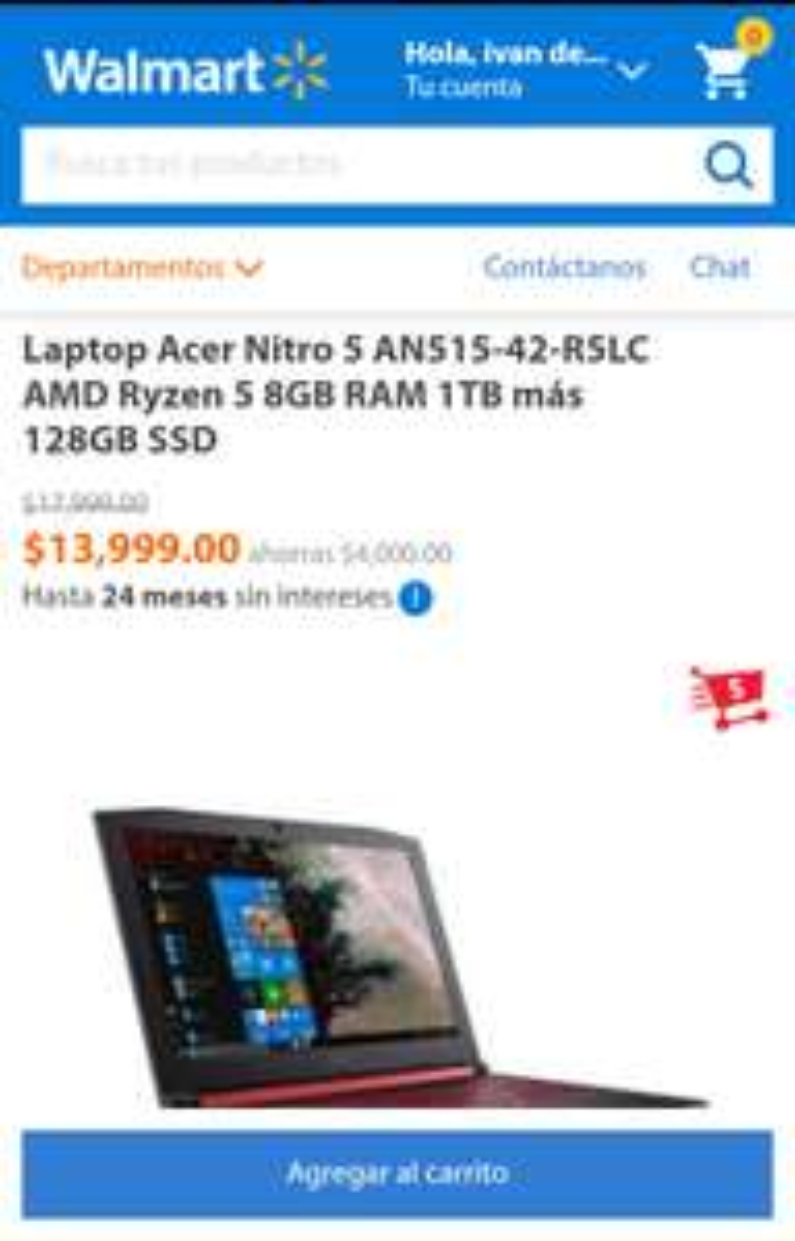 Walmart: Lap Acer Nitro 5 AN515-42-R5LC AMD Ryzen 5 8GB RAM 1TB más
