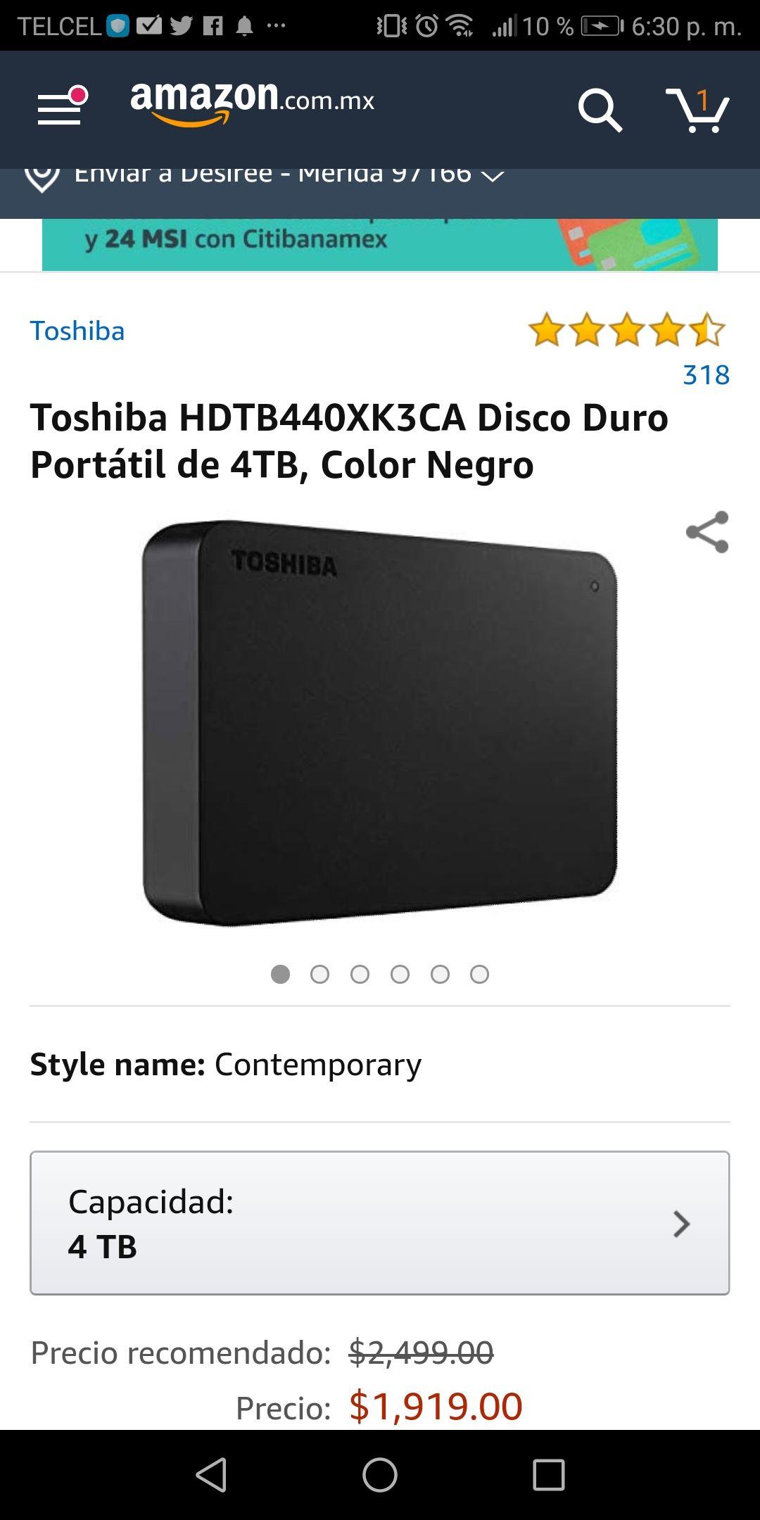 Amazon: Disco duro portátil Toshiba 4TB (pagando con Amazon recargable)
