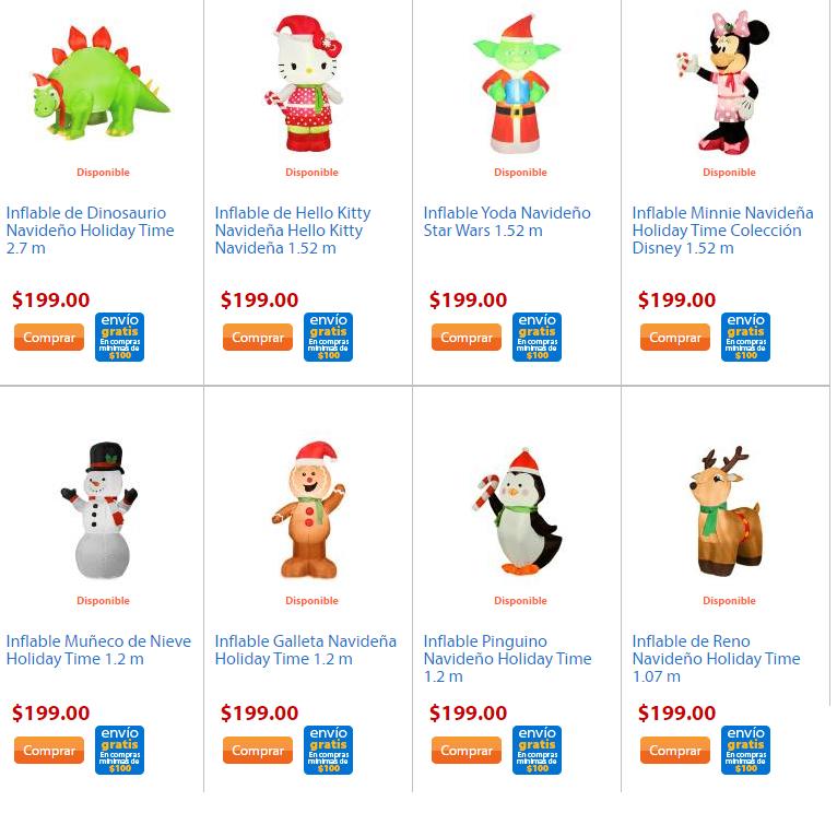 Walmart, Oferta en inflables de Navidad desde 199 + envío gratis.
