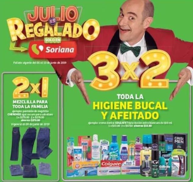 Julio Regalado 2019 en Soriana: 3x2 en Toda la Higiene Bucal y Afeitado y 2x1 en Todos los Pantalones de Mezclilla para Toda la Familia