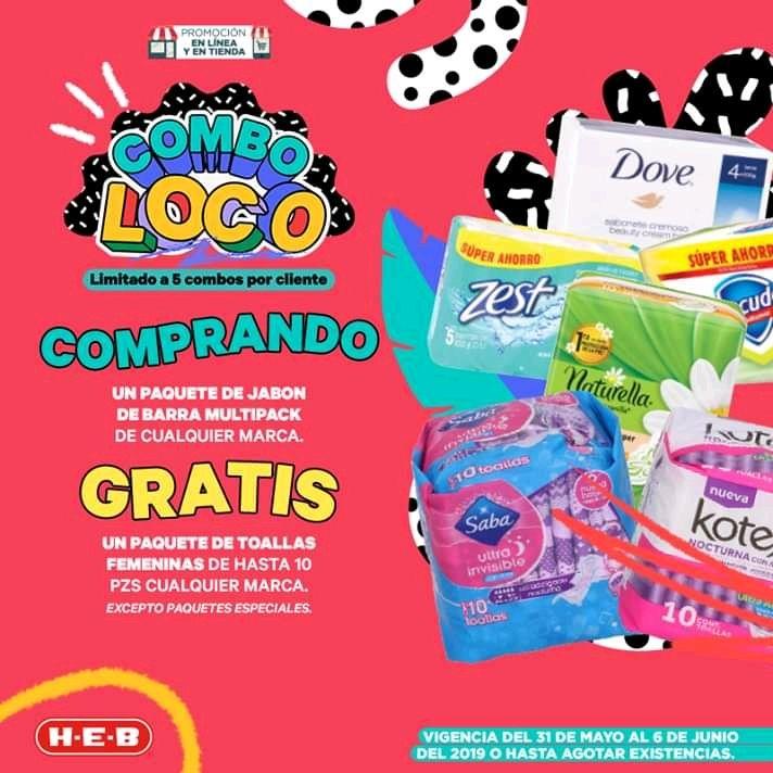 HEB: Compra cualquier paquete de Jabón de Tocador y Llévate Gratis Toallas Femininas de Cualquier marca de 10 piezas.