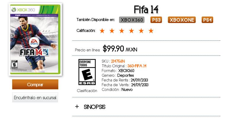 B Store: FIFA 14 para Xbox 360 a sólo $100