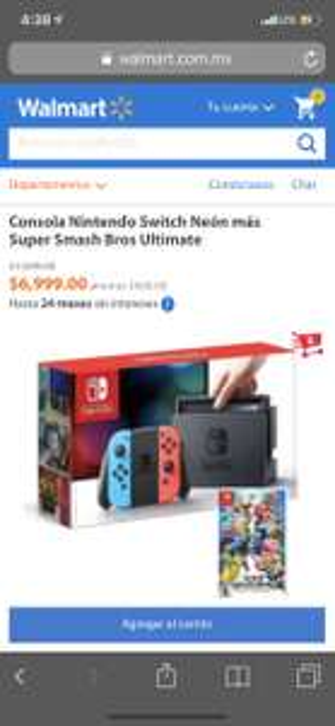 Hot Days 2019 Walmart: Nintendo Switch más Super Smash (Pagando con Bancomer o Inbursa)