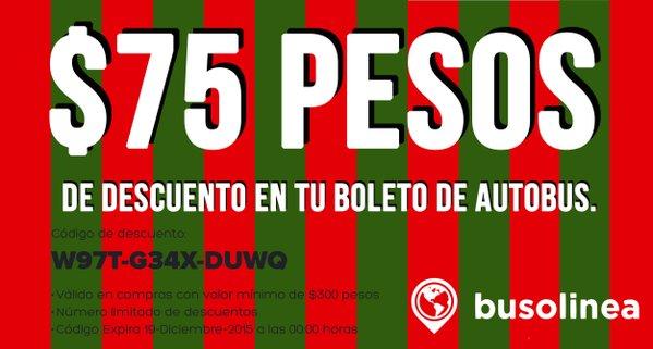 Busolinea: $75 pesos de descuento en boleto, compra mínima $300