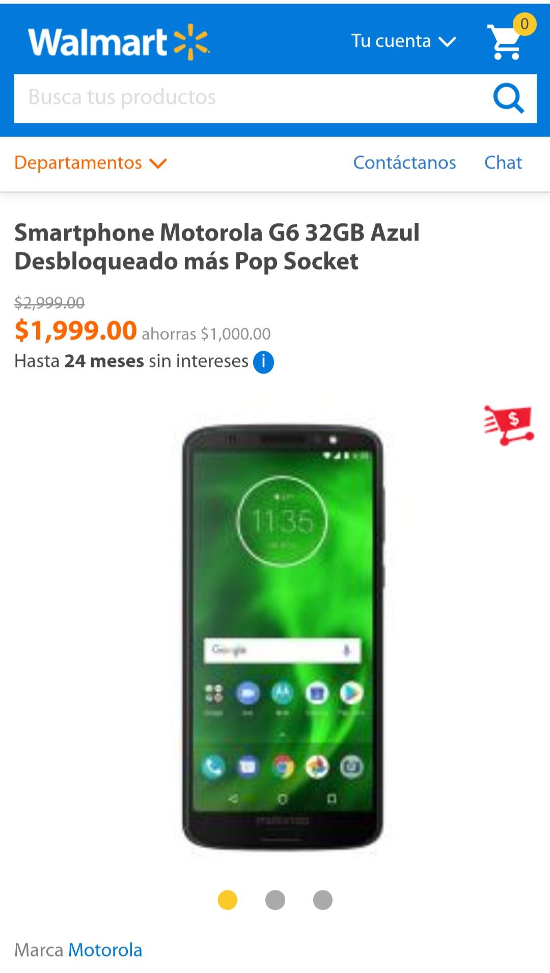 Walmart en línea: Moto G6