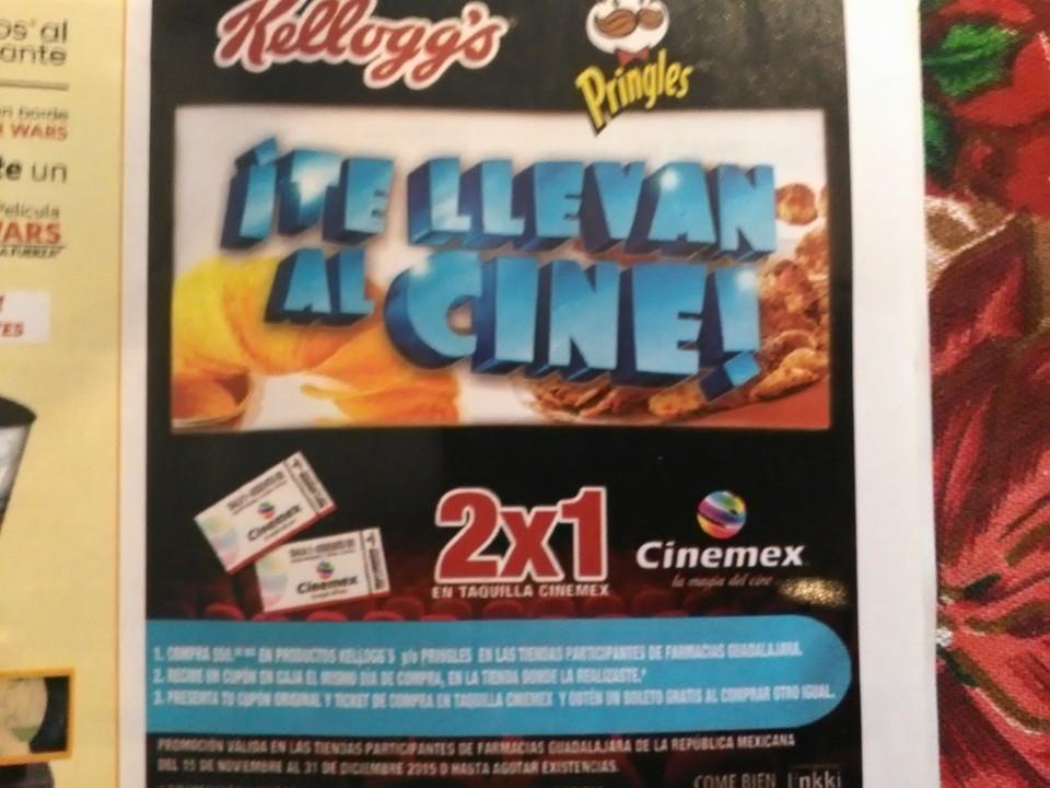 Farmacias Guadalajara: 2x1 en cinemex comprando $50 pesos en Kellogs o Pringles