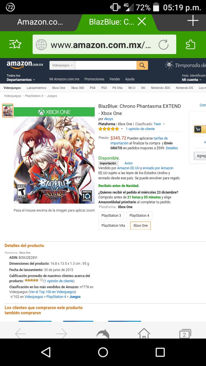 Amazon: Blazblue chrono phantasma extend para Xbox One a $346
