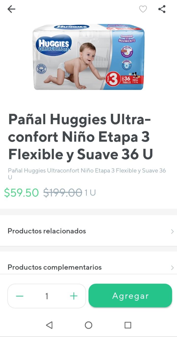 Rappi: Pañales Huggies Ultra Confort para Niño Etapa 3 con 36 U (en Farmacia)