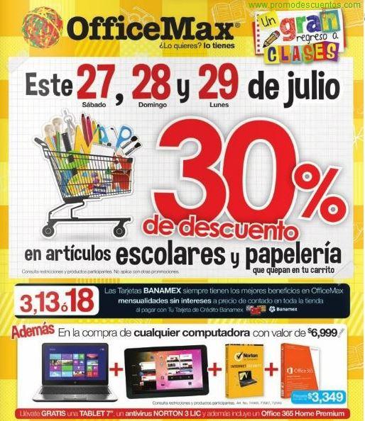OfficeMax: 30% de descuento en útiles escolares. Tablet y Office 365 gratis al comprar computadora y +