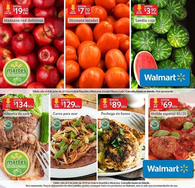 Walmart: Martes de Frescura 4 Junio: Sandía $3.90 kg... Jitomate Saladet $7.70 kg... Manzana Red Delicious $19.40 kg.