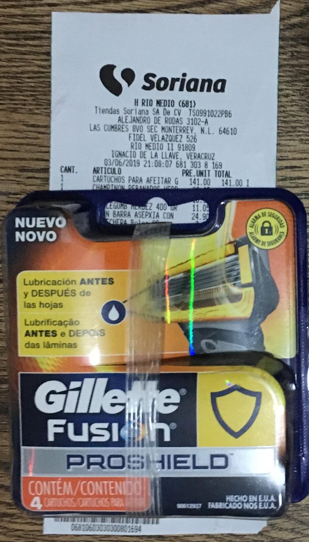 Soriana - Gillette fusion proshield 4 piezas