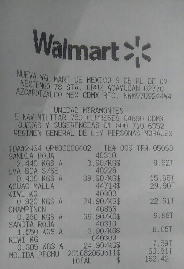 Walmart Miramontes: Kiwi $24.90 kg.