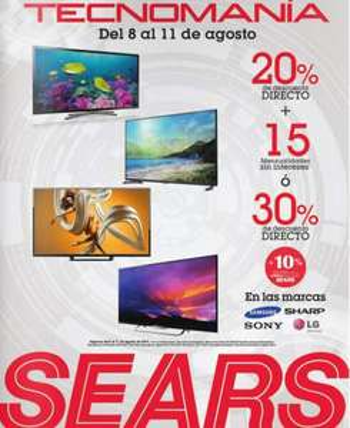 Sears Tecnomanía: 30% de descuento en marcas Samsung, Sharp, LG y Sony
