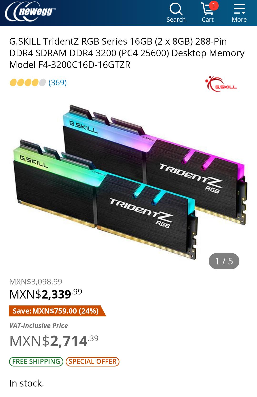 NEWEGG: G.SKILL TridentZ RGB Series 16GB (2 x 8GB) 288-Pin DDR4 SDRAM DDR4 3200 (PC4 25600)