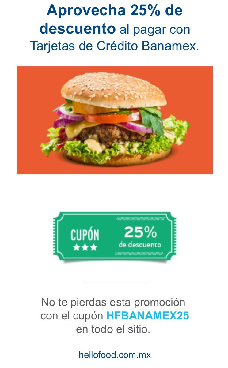 Hellofood: 25% de descuento con Banamex