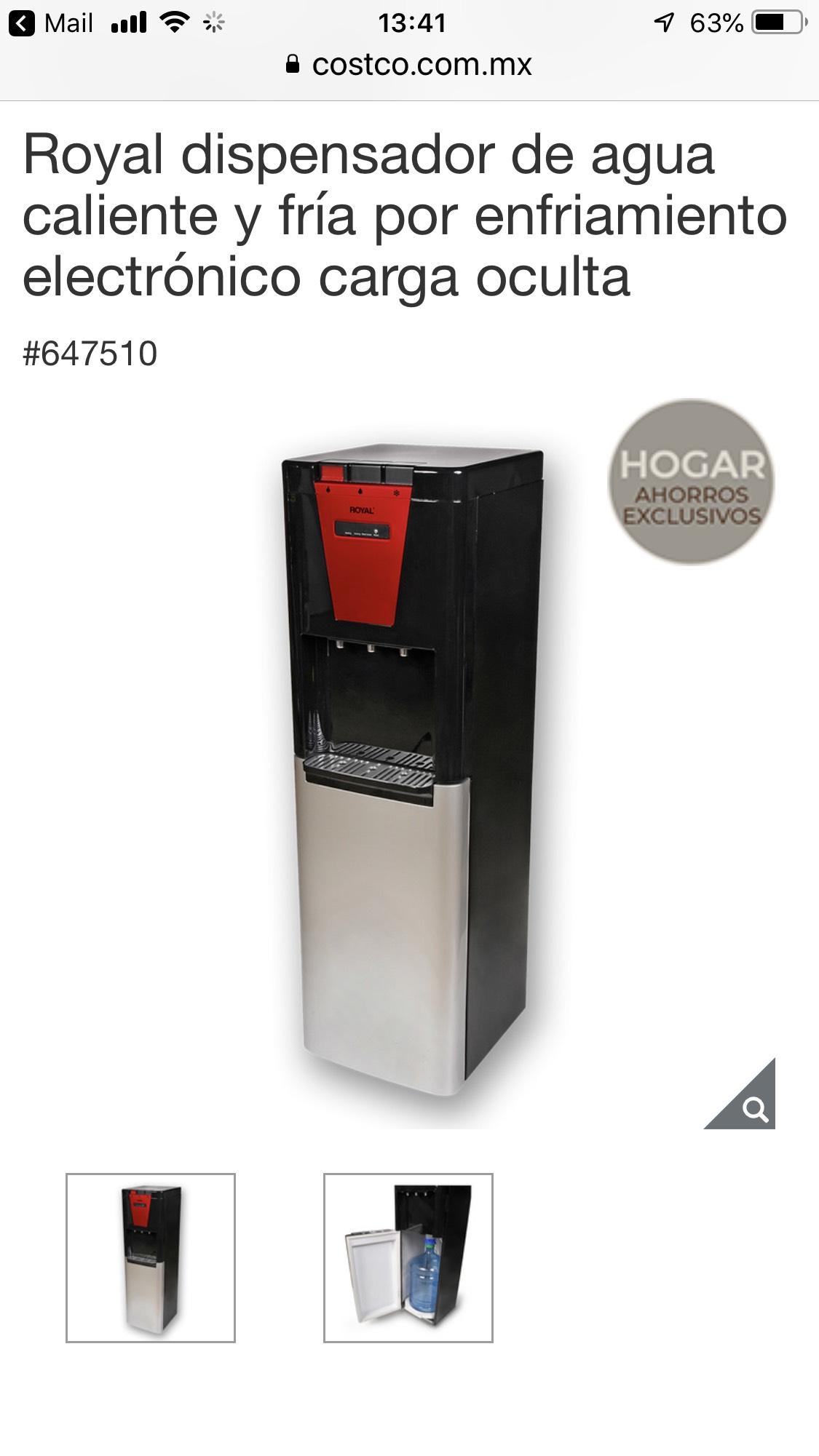 Costco Royal dispensador de agua caliente y fría por enfriamiento electrónico carga oculta