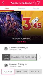 Cinemex 3 entradas para ver avengers end game por 45