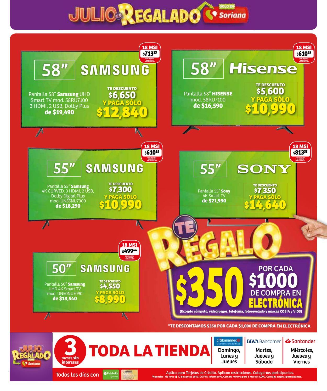 Julio Regalado 2019 en Soriana: 1er Folleto válido en Gdl, Mty y + 20 estados ¡30% de descuento en calcetería para caballero!