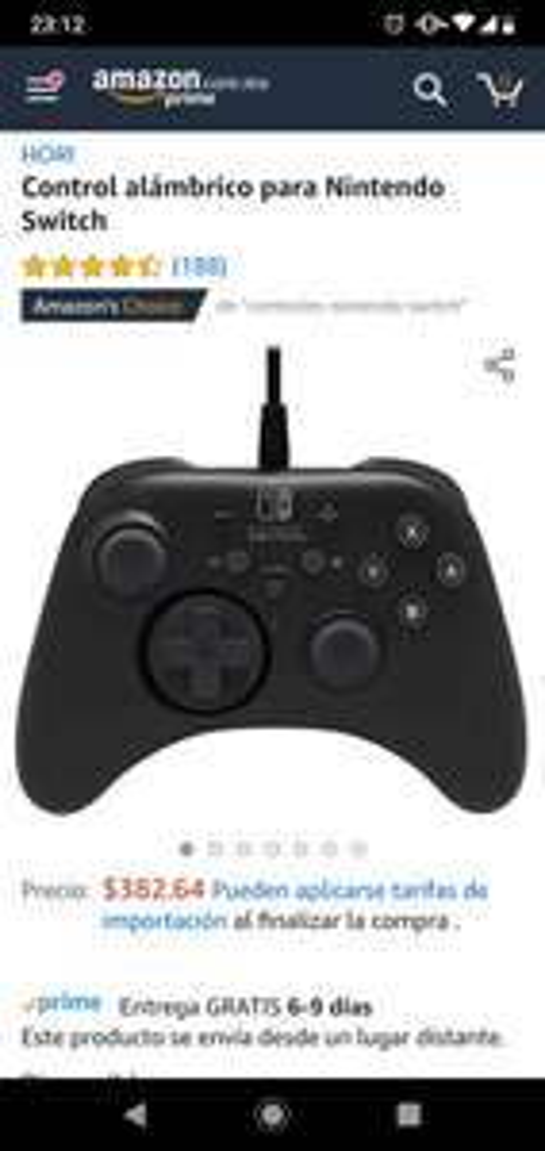 Amazon: Control alambrico Hori para Nintendo Switch