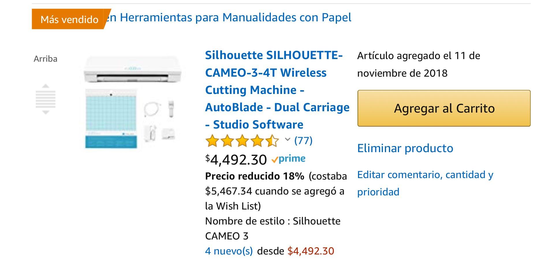 Amazon Plotter de corte Silhouette SILHOUETTE-CAMEO-3-4T Wireless Cutting Machine - AutoBlade - Dual Carriage - Studio Software