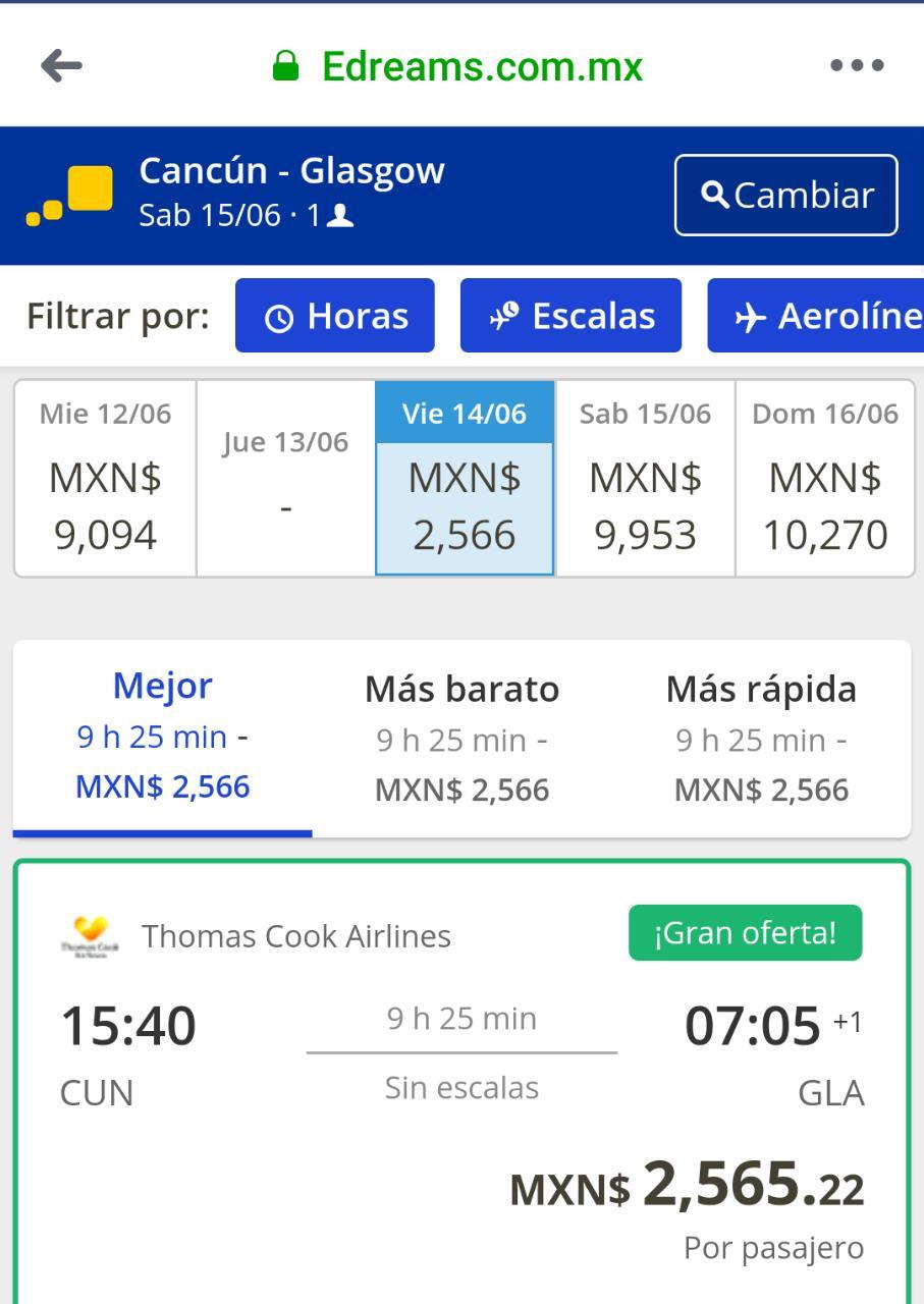 edreams: Vuelo Sencillo Directo a ESCOCIA desde Cancún