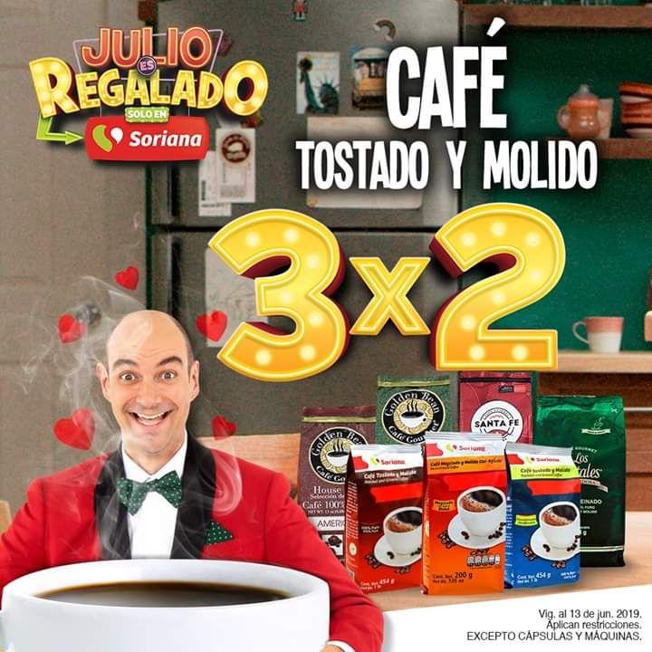 Soriana julio regalado 2019: 3x2 café molido y tostado