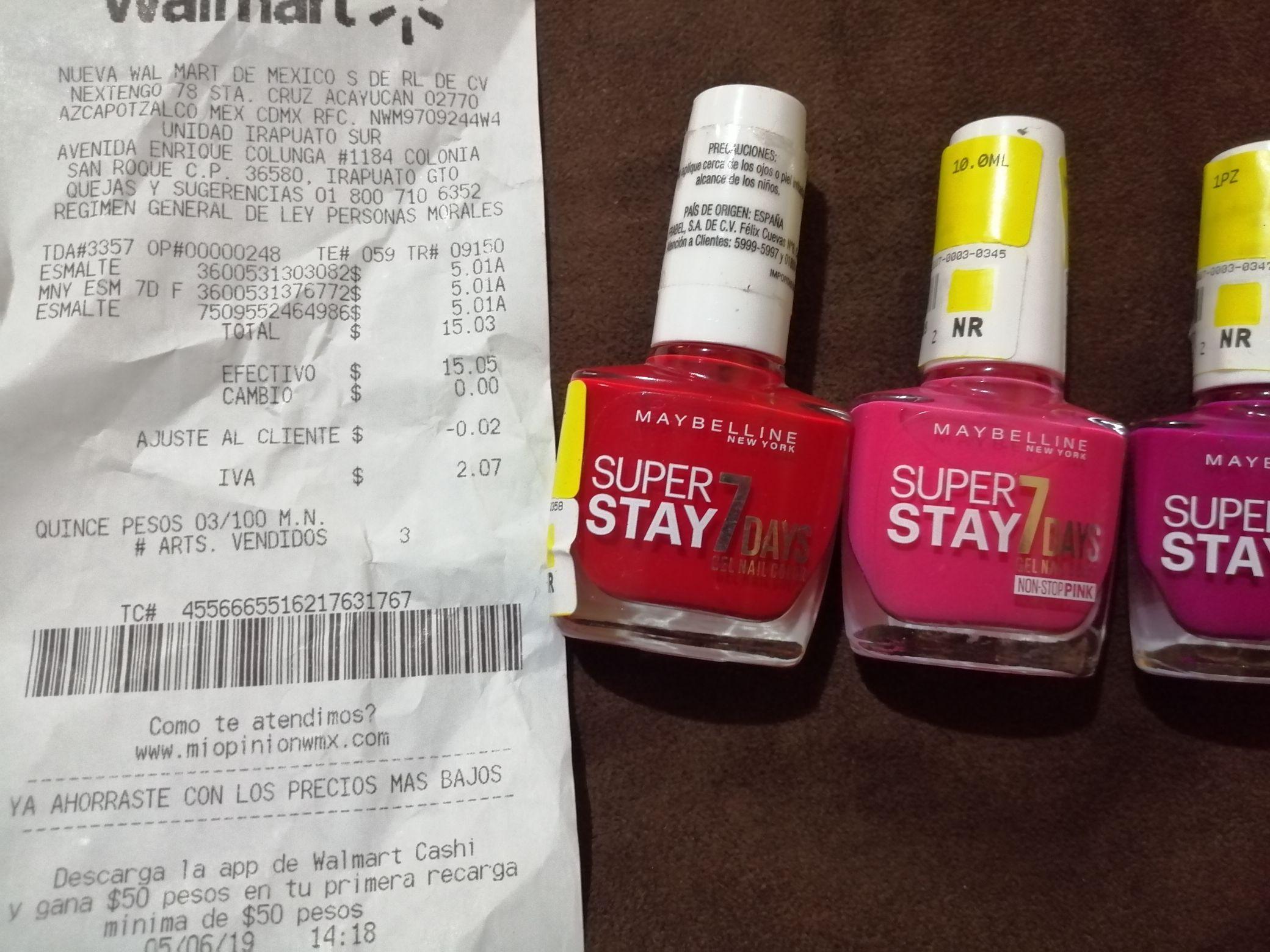 Walmart: Esmalte maybelline solo 5 pesitos y mas