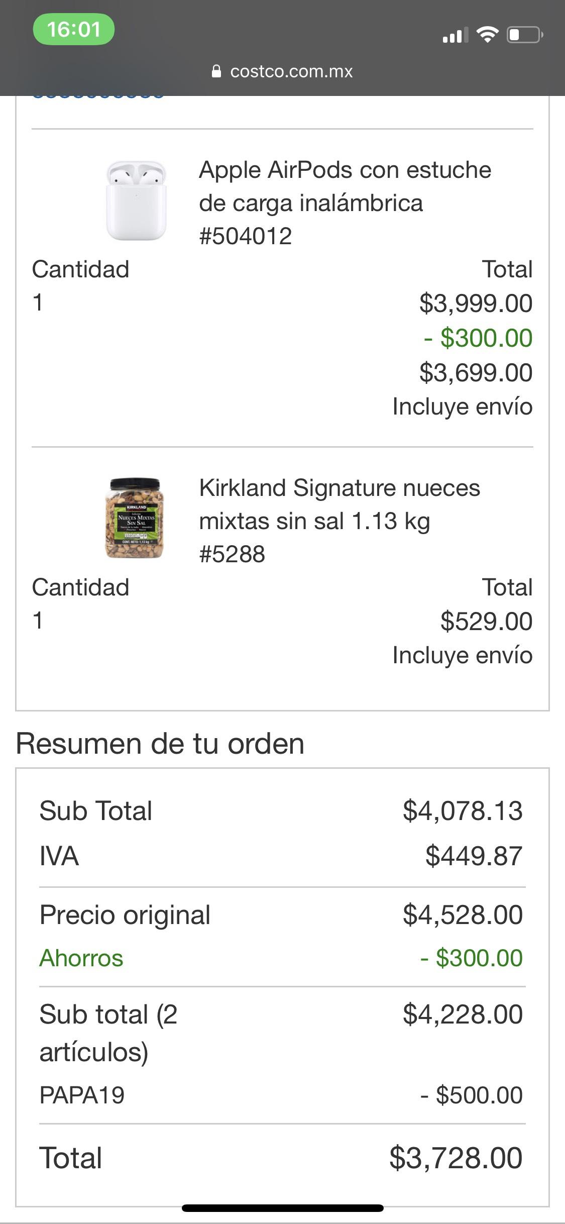 Costco: AirPods 2 estuche carga inalámbrica con nueces mixtas casi de regalo