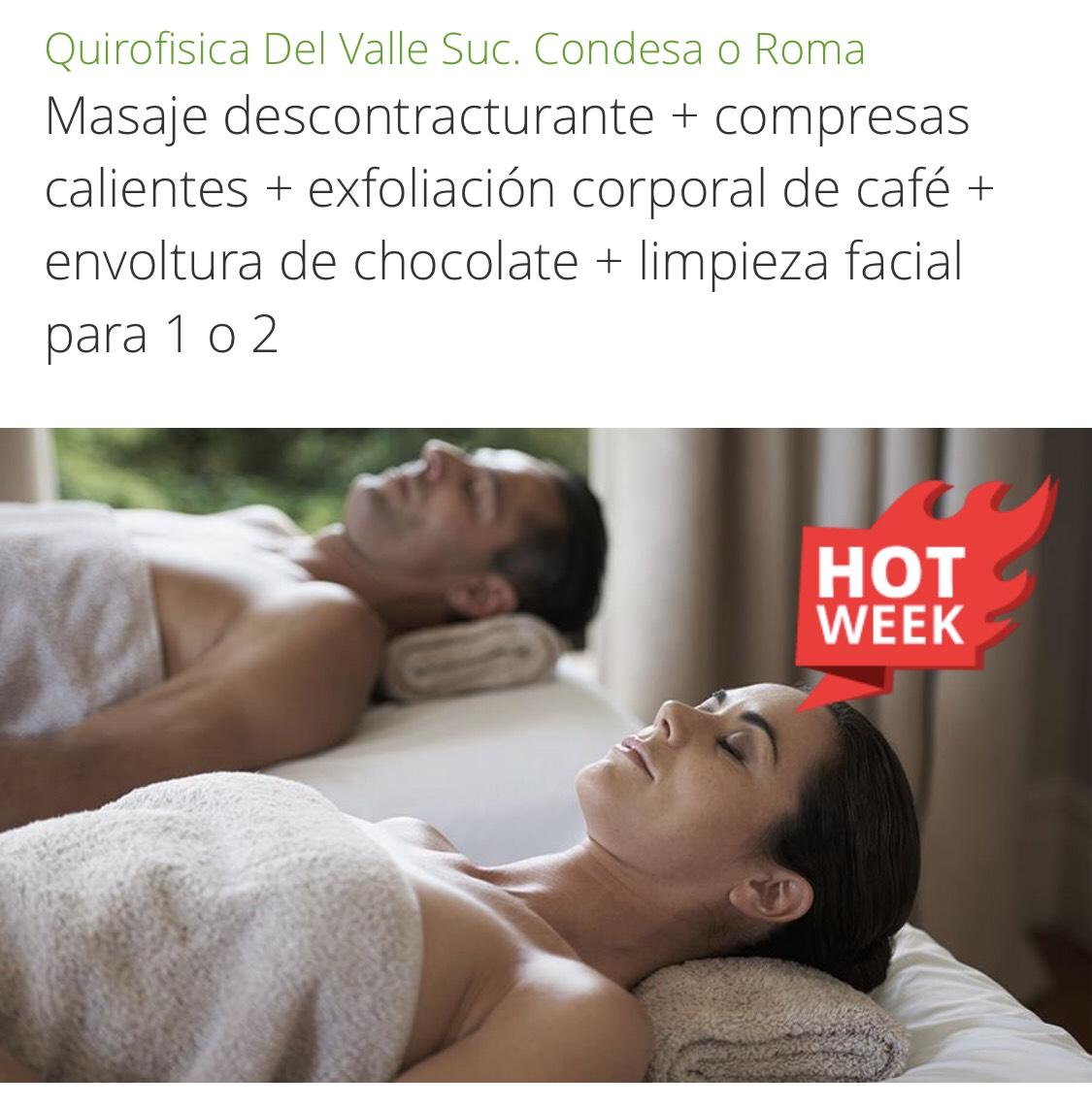 Groupon CDMX: Masaje descontracturante+compresas calientes + exfoliación corporal de café + envoltura de chocolate + limpieza facial