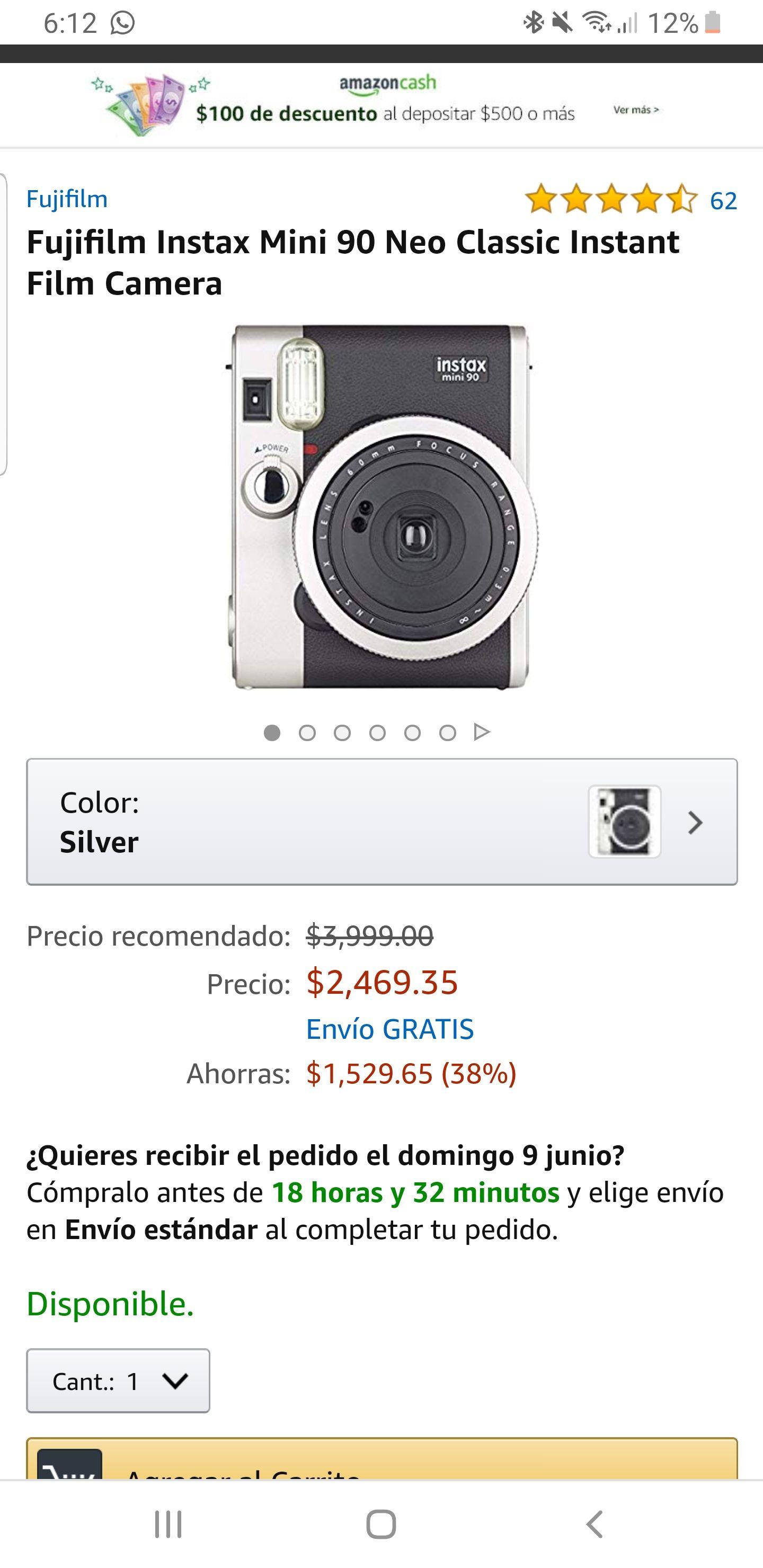 Amazon: Camara instantánea Fujifilm Instax mini 90