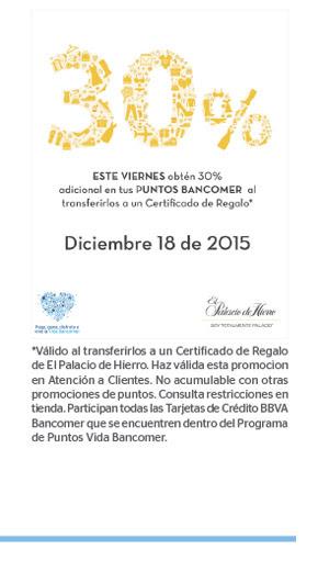 El Palacio de Hierro 30% más puntos Bancomer Mañana 18 Diciembre