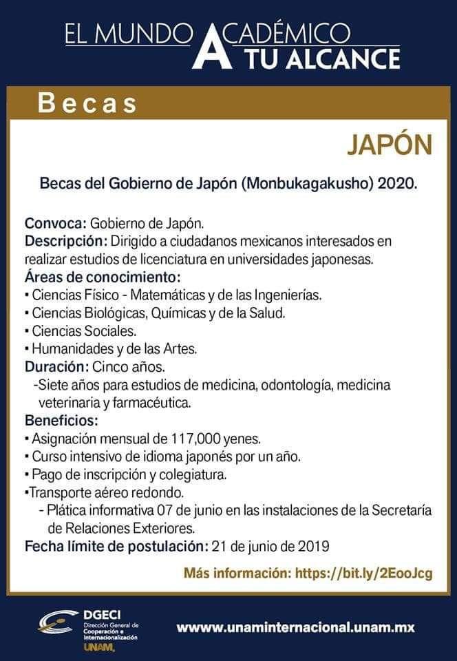 Beca del gobierno de Japón para estudiar la licenciatura en 2020