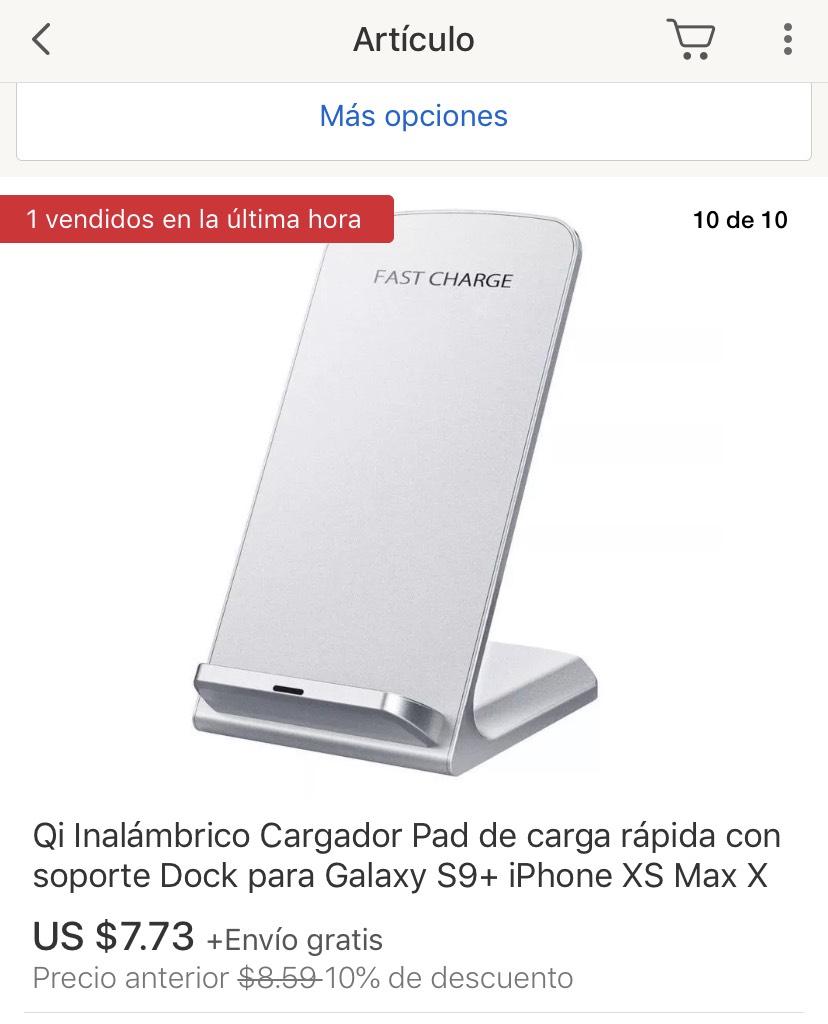 ebay: Cargador inalámbrico