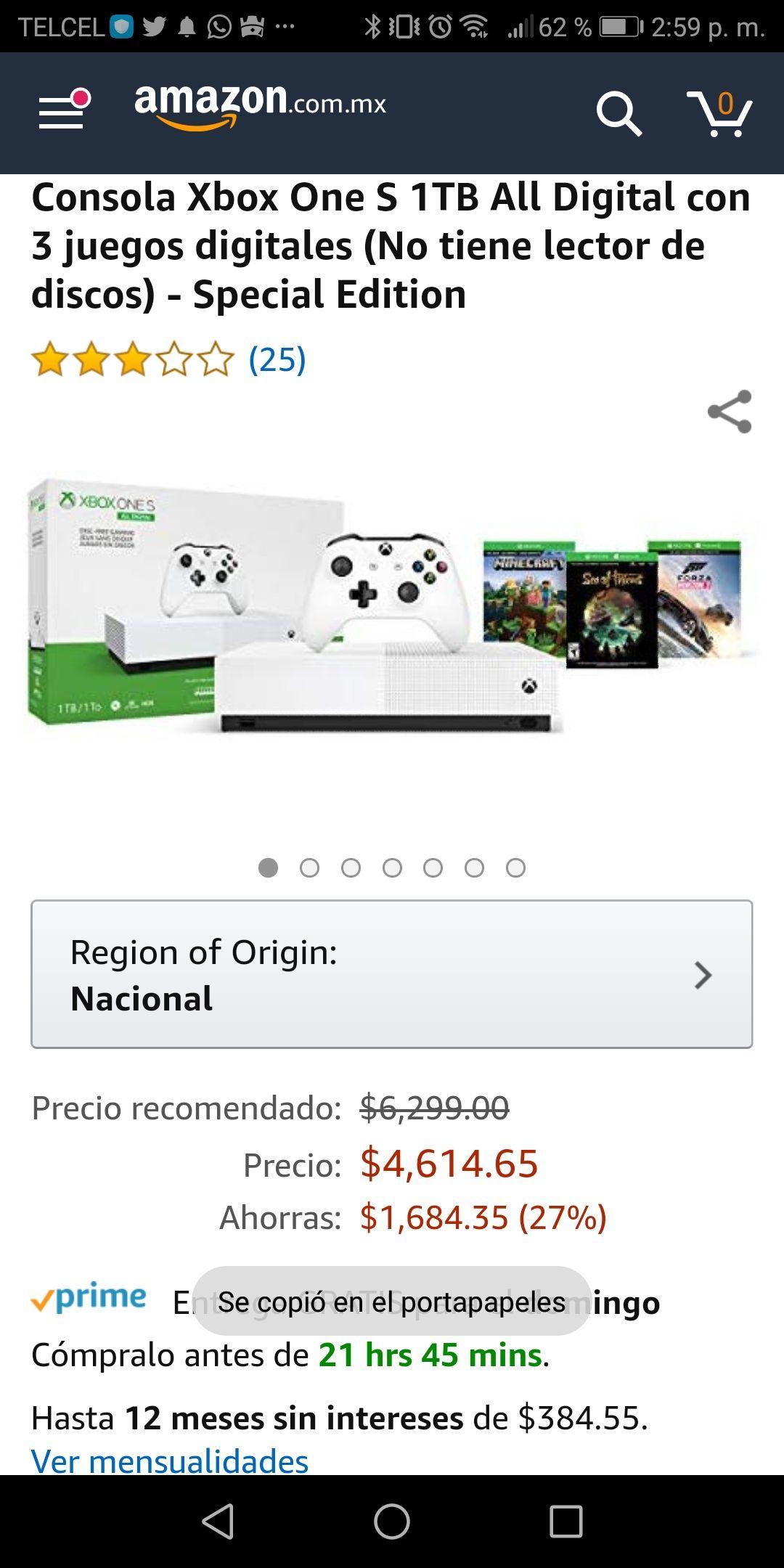Amazon: xbox one s all digital con 3 juegos