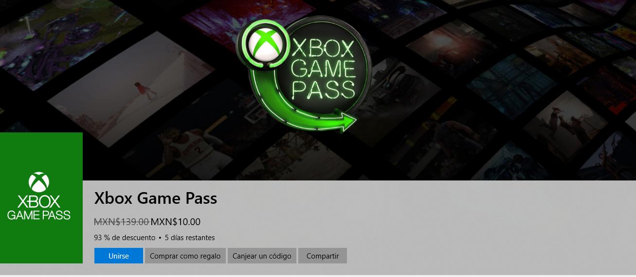 Microsoft Store: Xbox Game Pass 10 pesos (usuarios seleccionados)