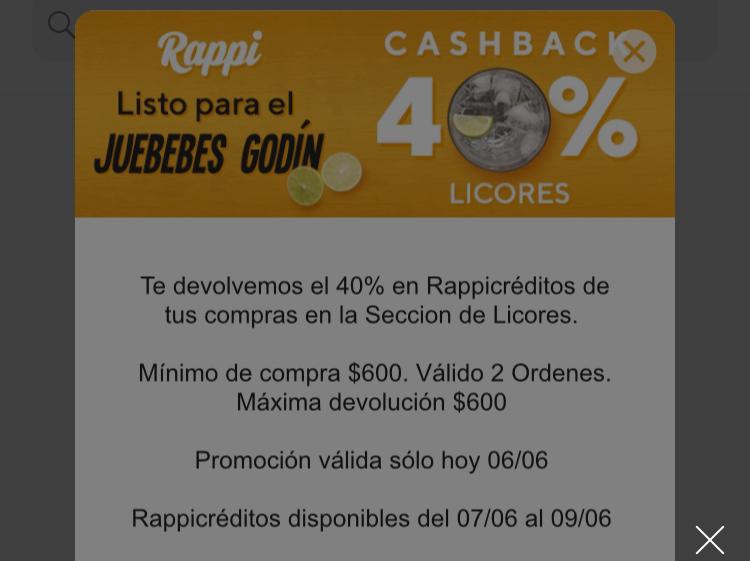 Rappi: Cashback del 40% en rappicréditos en la compra de Licores