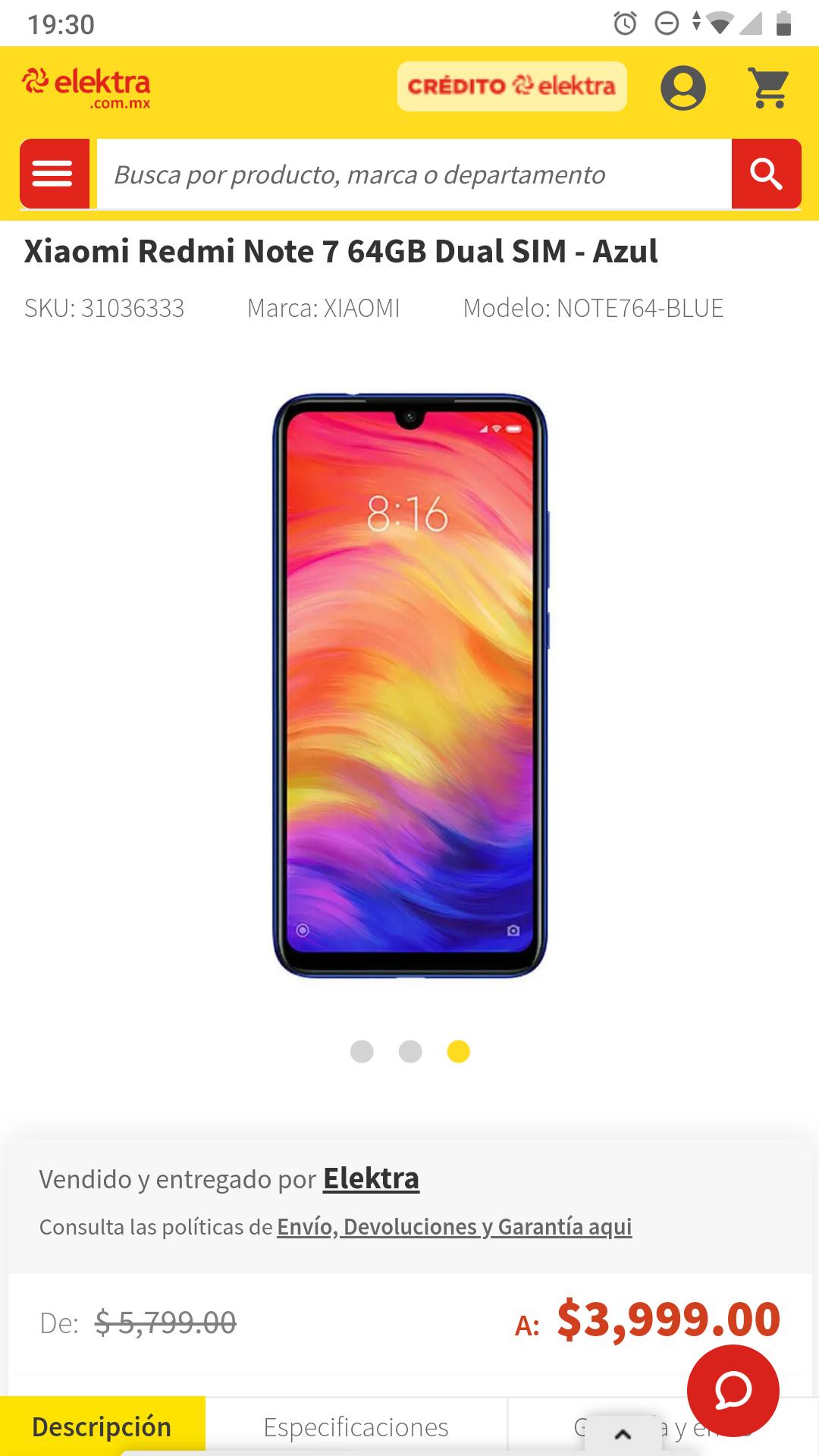 Elektra: Xiaomi Redmi Note 7 64GB Dual Con Banco Azteca