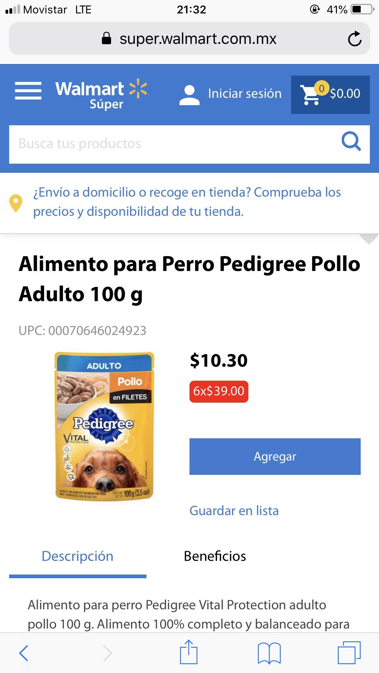 Walmart Súper:  Alimento para perros Pedigree, 6 sobres x $39