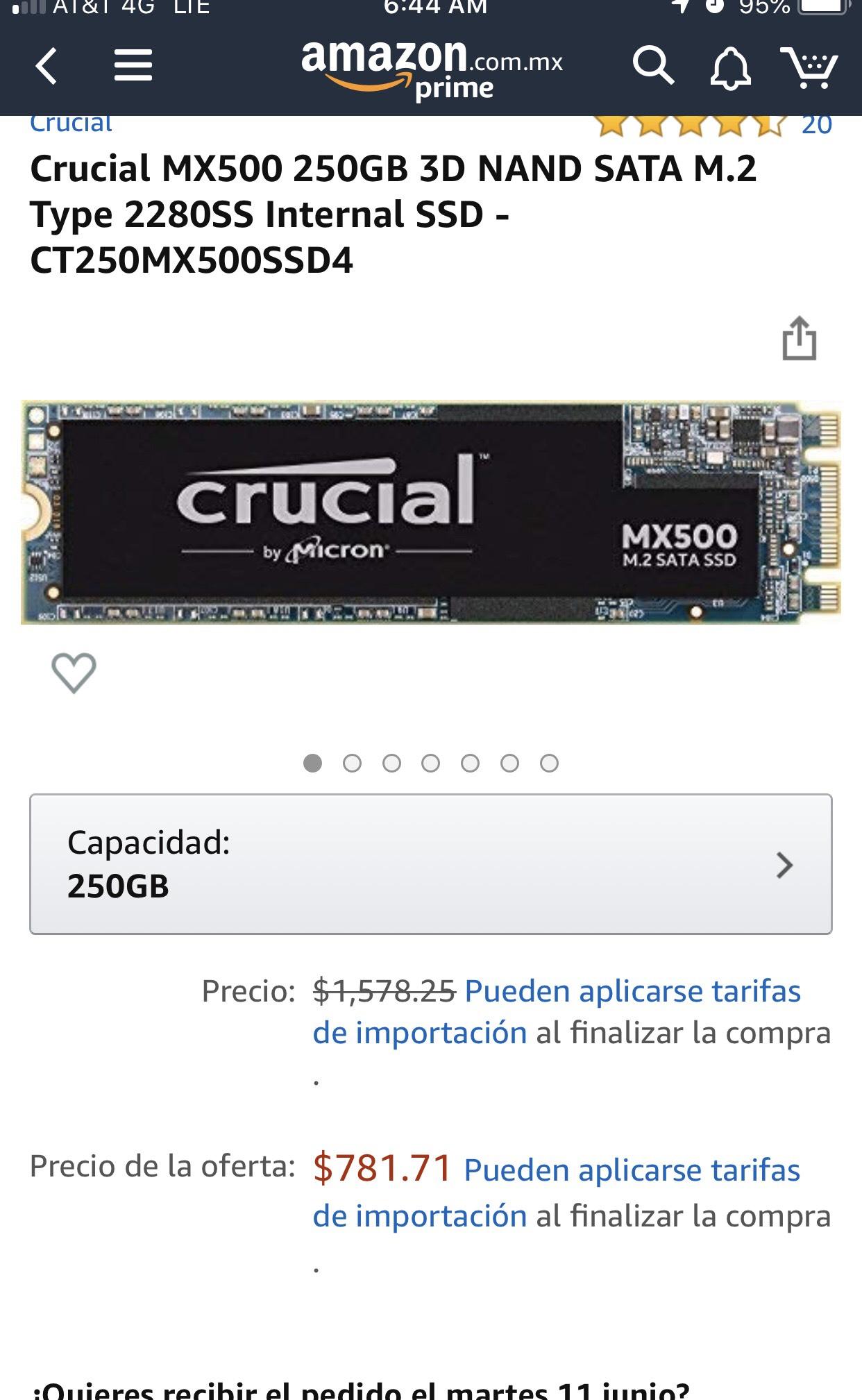 Amazon: SSD M.2 Crucial 250 GB