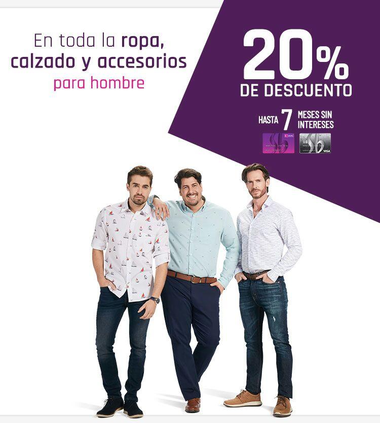 Suburbia: 20% de descuento en ropa, calzado y accesorios para hombre