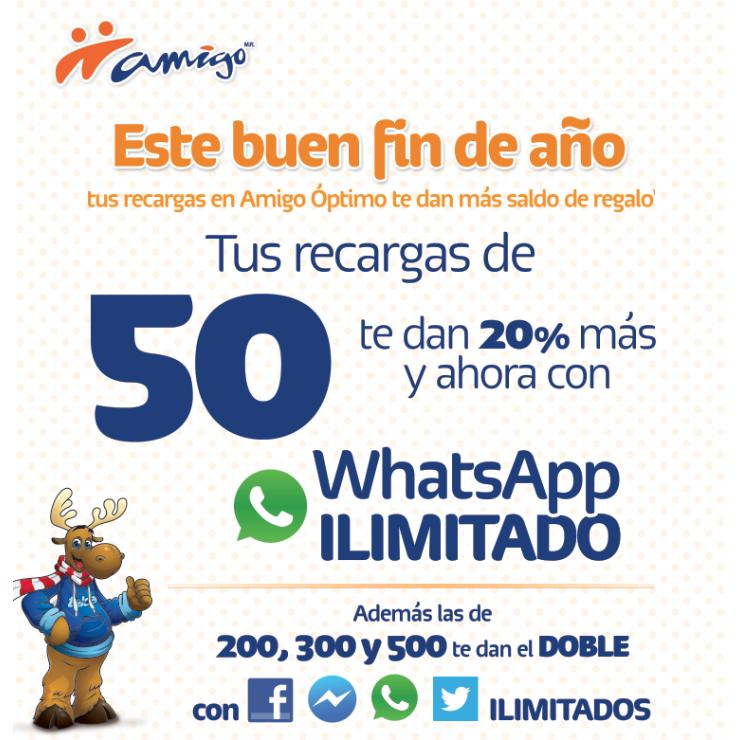 Telcel: WhatsApp gratis en recargas desde $50