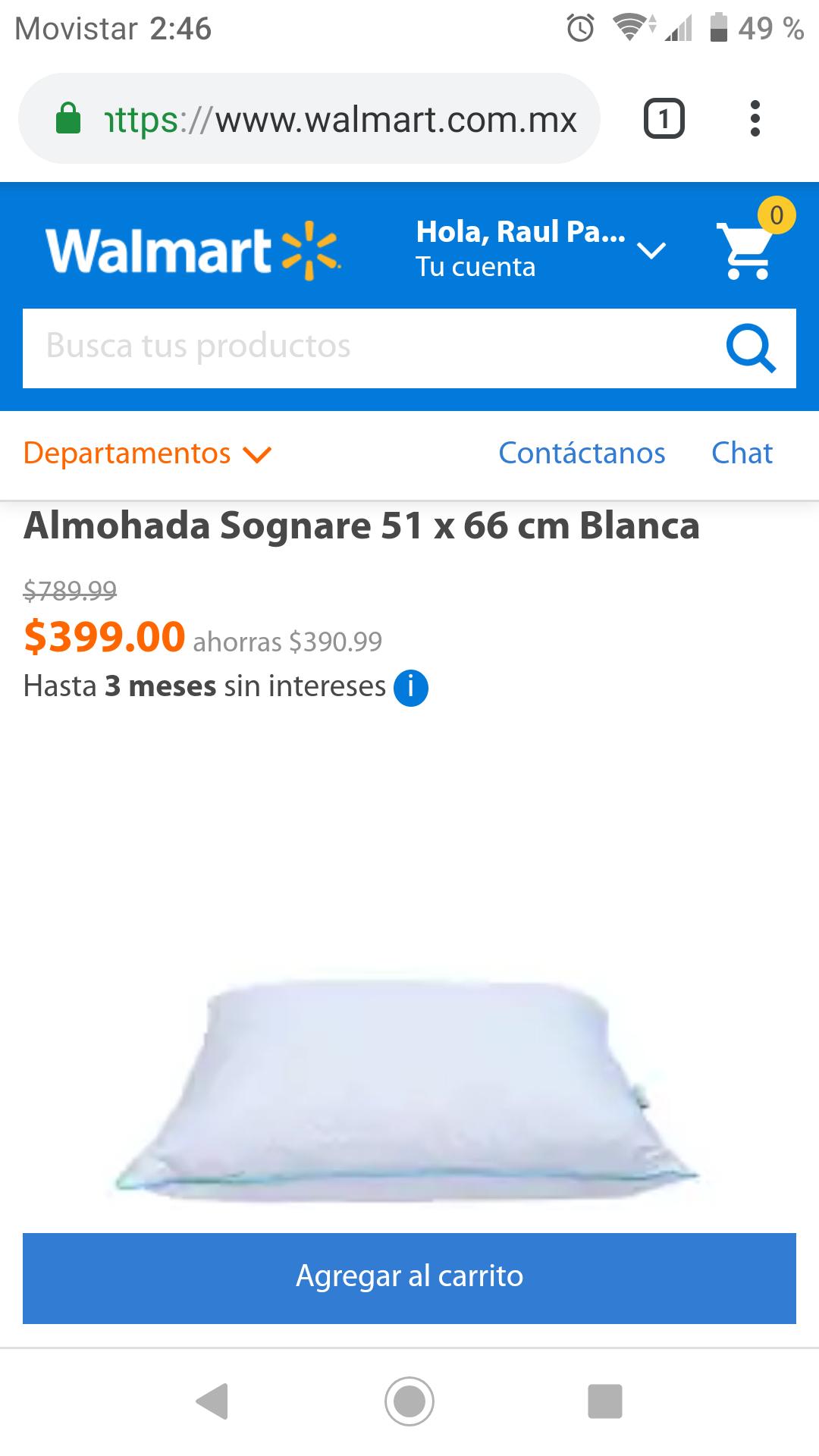 Walmart: Almohada Sognare